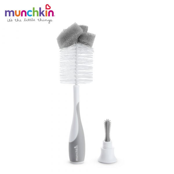 munchkin滿趣健-二合一奶瓶奶嘴刷-灰 幼童 餵食 吸盤碗 不倒