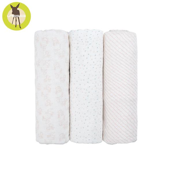 德國LASSIG-超柔手感竹纖維嬰兒包巾毯3入-粉紅點點 涼感巾,德國lassig