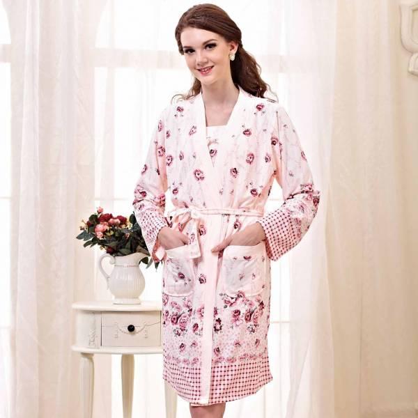TJP 法式優雅唯美花卉二件式睡衣-淺桔色