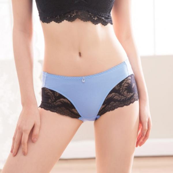 TJP 法式浪漫性感蕾絲中低腰內褲-水藍色