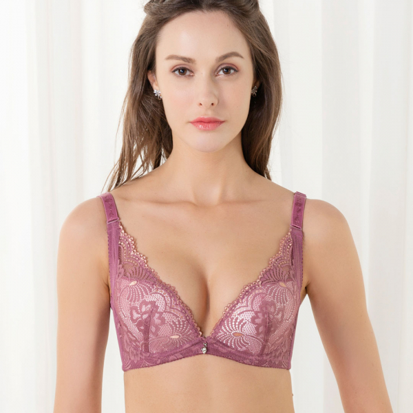 TJP法式蕾絲深V性感內衣/褲-粉色 刺繡內衣,豐胸,性感