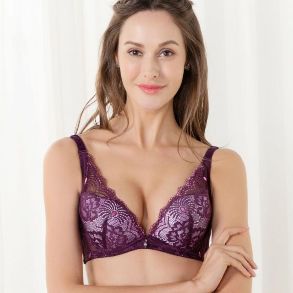 TJP法式蕾絲深V性感內衣/褲-紫色 刺繡內衣,豐胸,性感