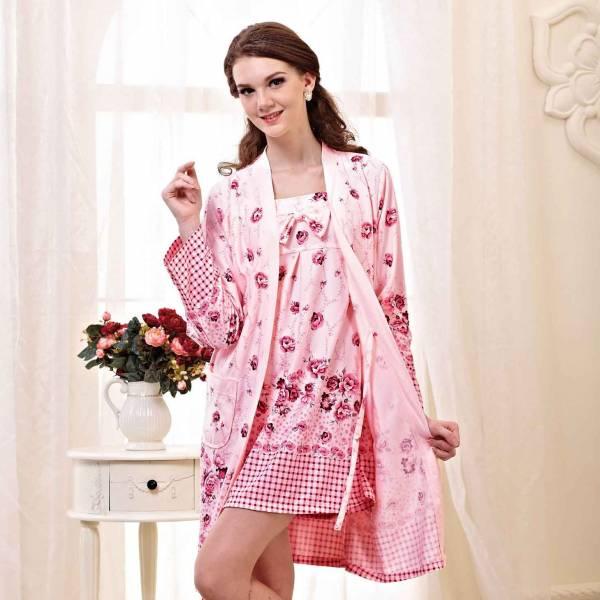 TJP 法式優雅唯美花卉二件式睡衣-粉紅色