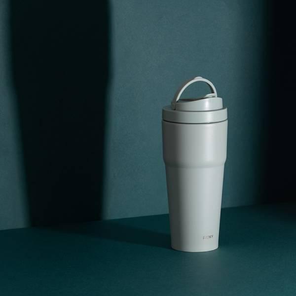 【一休限定xWOKY沃廚】手提激凍輕芯鈦瓷易潔層保溫杯750mlx1+雙層玻璃杯350ml把手x1