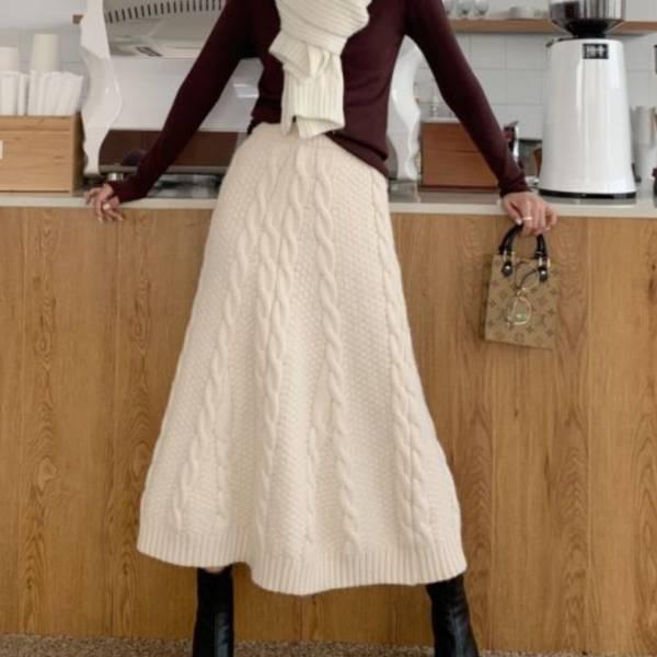 針織長裙 Knitted Skirt 毛衣洋裝送洗