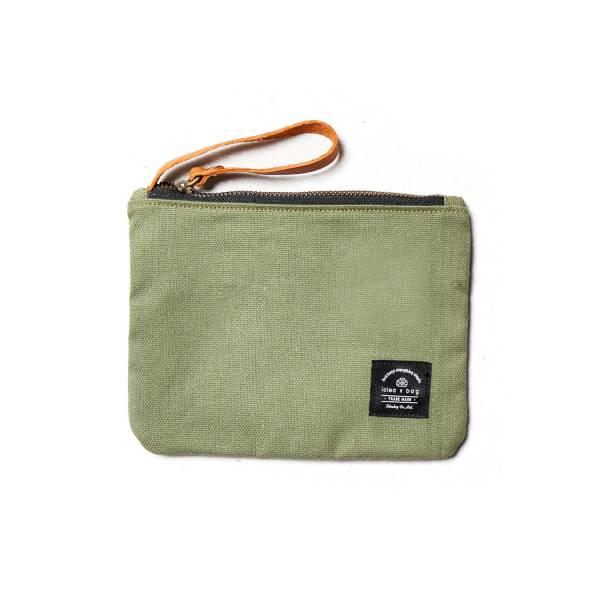 真皮帆布萬用小物包 化妝包 蘋果綠 小包手拿包化妝包