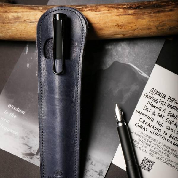 点子包【icleaXbag】 小法棍真皮笔套 钢笔笔套 礼品可刻字 蓝 钢笔笔套