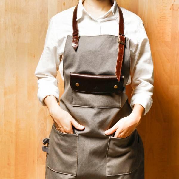 全身式工作圍裙(油蠟皮帶脖掛式) 油蠟皮革手工工作圍裙(皮帶式) 門市保固