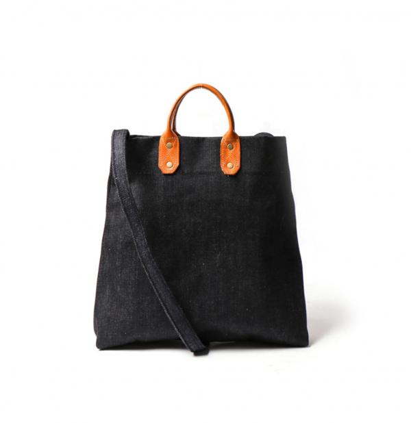 點子包【icleaXbag】簡約M號真皮帆布購物袋 新增側背帶  單寧藍  真皮帆布購物袋