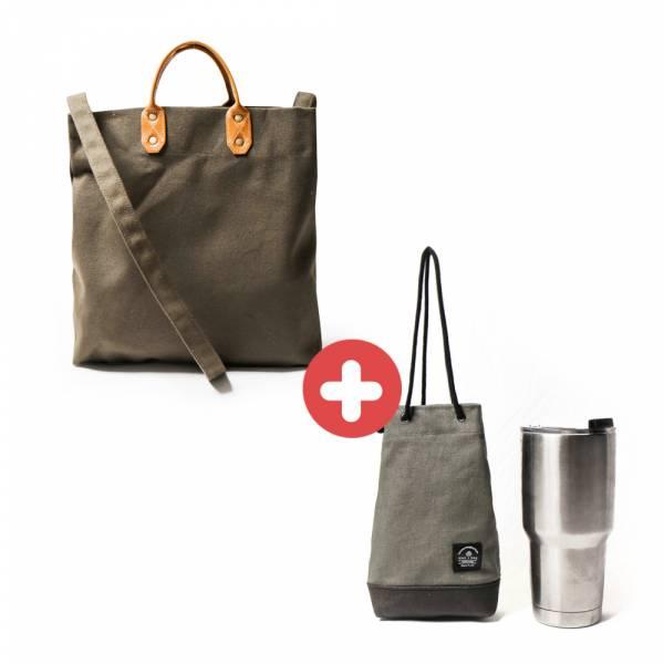 【福袋】M號帆布購物袋+飲料提袋(顏色隨機) 真皮帆布購物袋