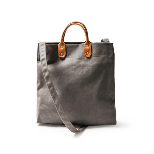 点子包【icleaXbag】简约M号真皮帆布购物袋 新增侧背带  深灰色 真皮帆布购物袋