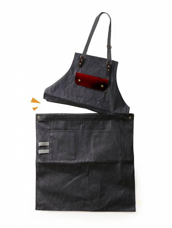 變形兩用穿工作圍裙|深灰織帶款 變形兩用穿工作圍裙