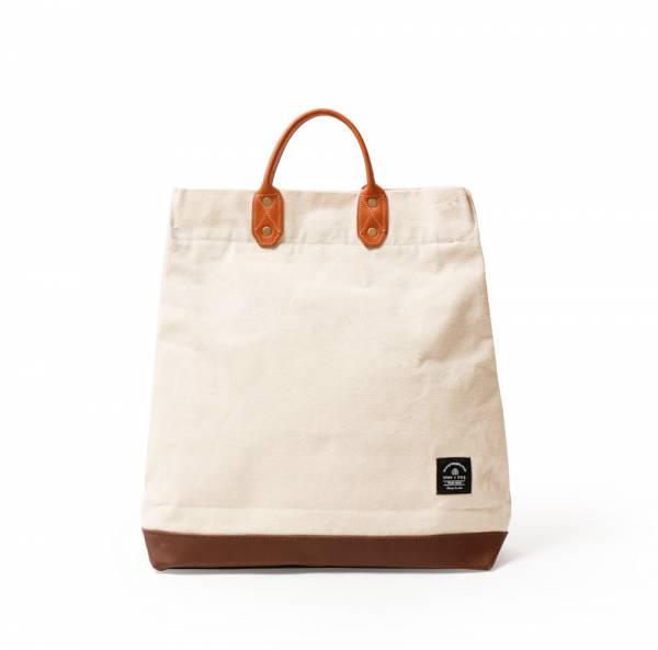 簡約L號真皮帆布購物袋 手提包 含背帶  米白 真皮帆布購物袋