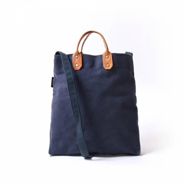 簡約M號真皮帆布購物袋 側背包 藏藍色 真皮帆布購物袋