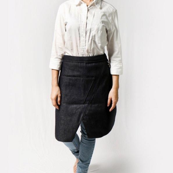 变形半身开岔式工作围裙 (丹宁蓝) 门市保固 众多职人指定品牌 变形半身开岔式工作围裙
