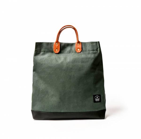 簡約L號真皮帆布購物袋 手提包 含背帶 棕梠綠 真皮帆布購物袋