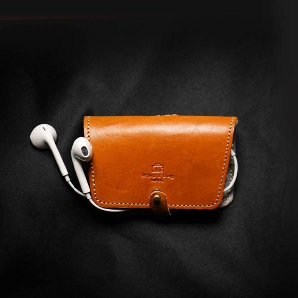 點子包【icleaXbag】 真皮耳機收納套 附贈禮盒包裝 可刻字 綜色 耳機收納套
