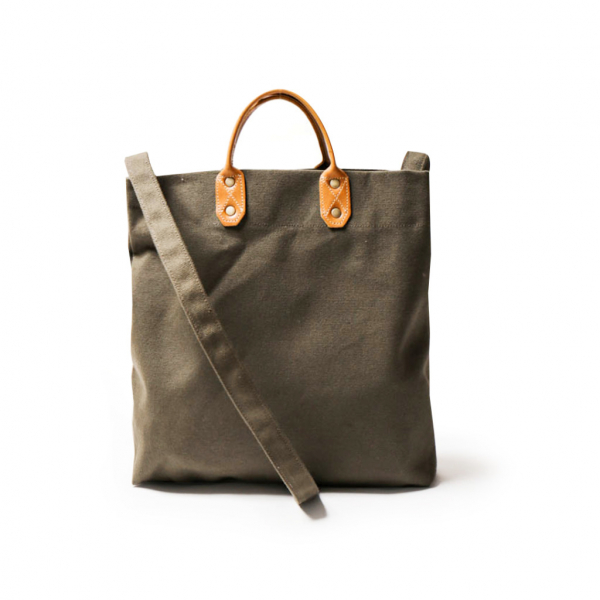 Medium Canvas Shopper | Green 真皮帆布購物袋