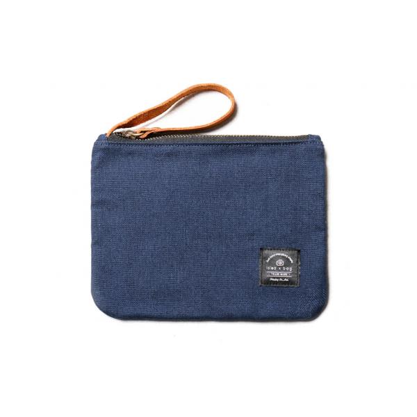 真皮帆布万用小物包 化妆包 藏蓝色 小包手拿包化妆包