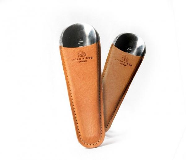 点子包【icleaXbag】经典皮革迷你不锈钢鞋拔皮套(附鞋拔) 不锈钢鞋拔