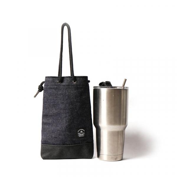 飲料提袋 簡約飲料隨行袋  可刻字 單寧藍 飲料提袋 簡約飲料隨行袋