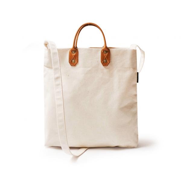 點子包【icleaXbag】簡約M號真皮帆布購物袋 新增側背帶  米白色  真皮帆布購物袋