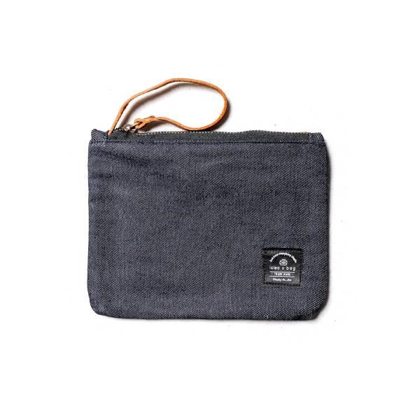 真皮帆布萬用小物包 化妝包 單寧藍 小包手拿包化妝包
