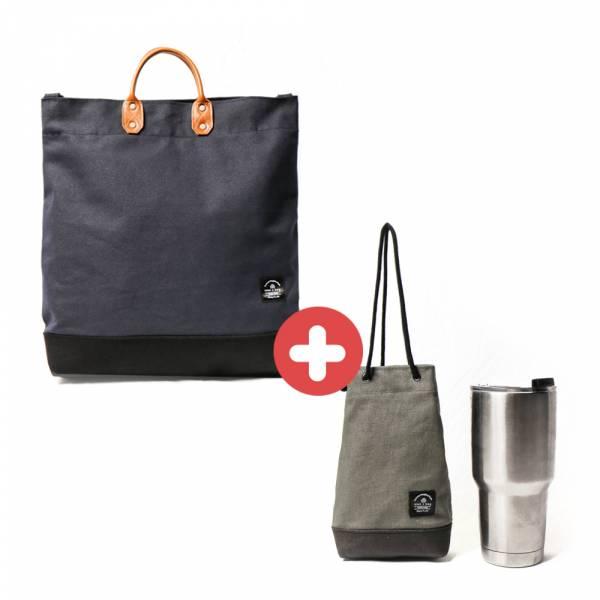 【福袋】L號真皮帆布購物袋+飲料袋(隨機) 真皮帆布購物袋
