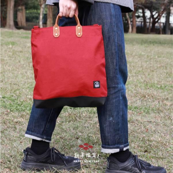 点子包【icleaXbag】简约L号真皮帆布购物袋 手提包 含背带  军绿 真皮帆布购物袋 手提包