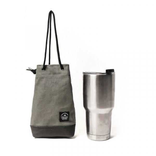 飲料提袋 簡約飲料隨行袋  可刻字 灰綠 飲料提袋 簡約飲料隨行袋