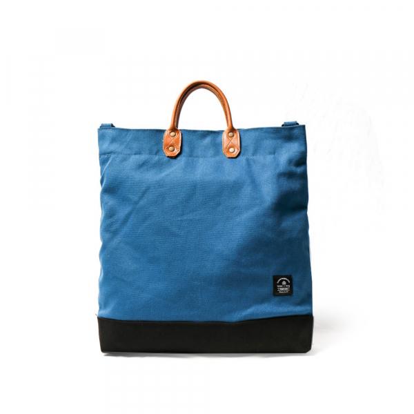點子包【icleaXbag】簡約L號真皮帆布購物袋 手提包 含背帶  天藍色    真皮帆布購物袋