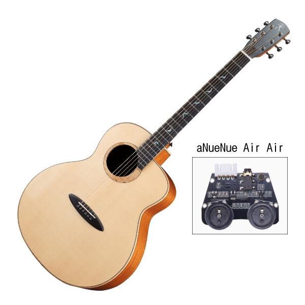 aNueNue LB100E 雲杉木面板+桃花心木側背板 41吋 全單板 可插電 民謠吉他 / 鳥吉他 / 木吉他 附小小收納袋、PICK、貼紙、胸章、琴布、原廠琴盒
