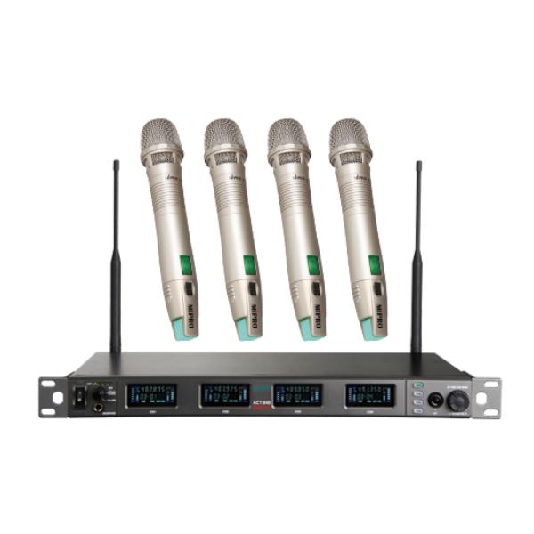 Mipro ACT-848 1U四頻道UHF寬頻數位接收機+4支ACT-80H 手握無線麥克風 原廠公司貨保固