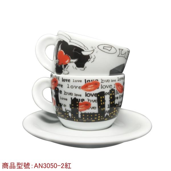愛情卡布杯組(2個2盤) 老爸咖啡,杯子,瓷,咖啡,精品,濃縮,義大利,義式,咖啡豆,老爸咖啡 商城