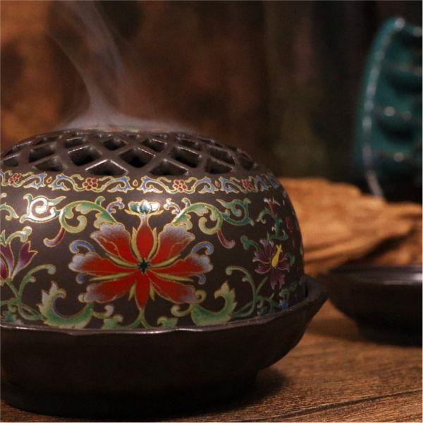 原木香 潤圓陶瓷琺瑯彩香爐