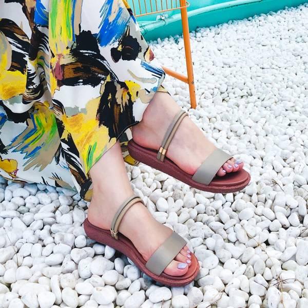 【訂製】Simple+久走不累一字帶兩穿涼鞋-灰