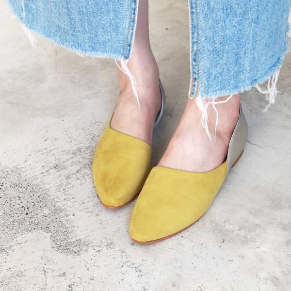 【訂製】異素材拼接便鞋-黃