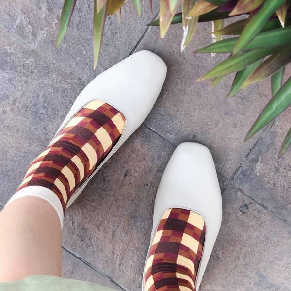 【訂製】世界系列_日本製Recipe復古方頭真皮便鞋/淺灰
