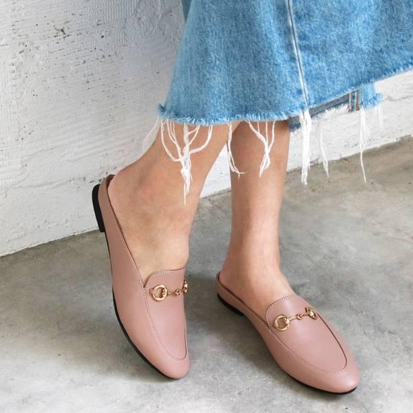 【訂製】一套就走,真皮鍊條穆勒鞋-淺粉