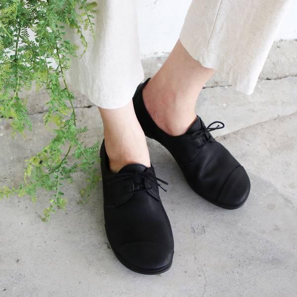 【高雄快閃_優惠價現貨】世界系列_日本製D'knot柔軟植鞣皮精靈綁帶休閒鞋-黑