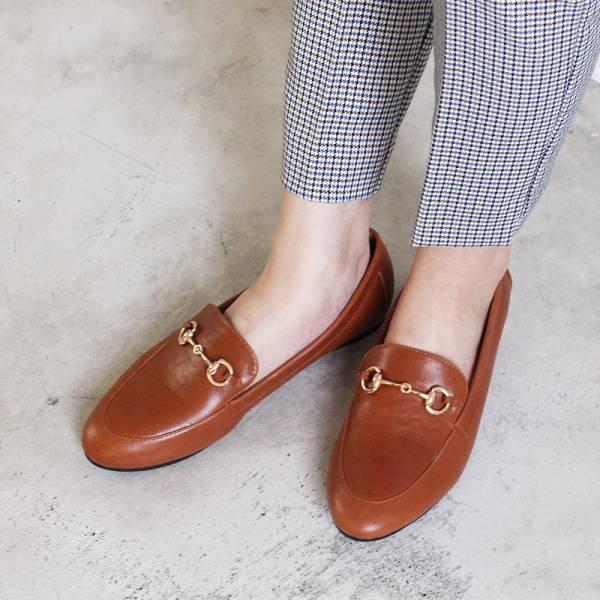 【訂製】真皮鍊條樂福鞋-駝