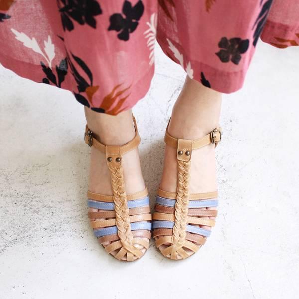 【訂製】真皮手工編織楔型涼鞋 - 駝