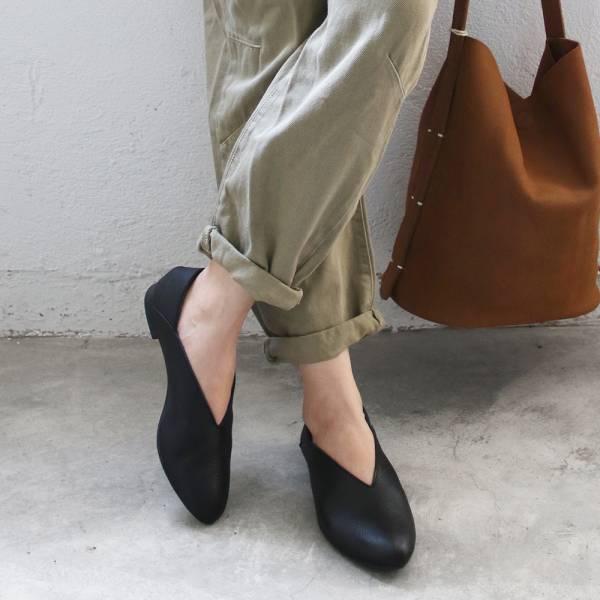 【訂製】世界系列_日本製Recipe小腳效果V型微尖便鞋/黑