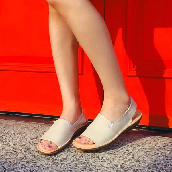 【現貨】Q彈厚底牛皮後帶魚口涼鞋-白