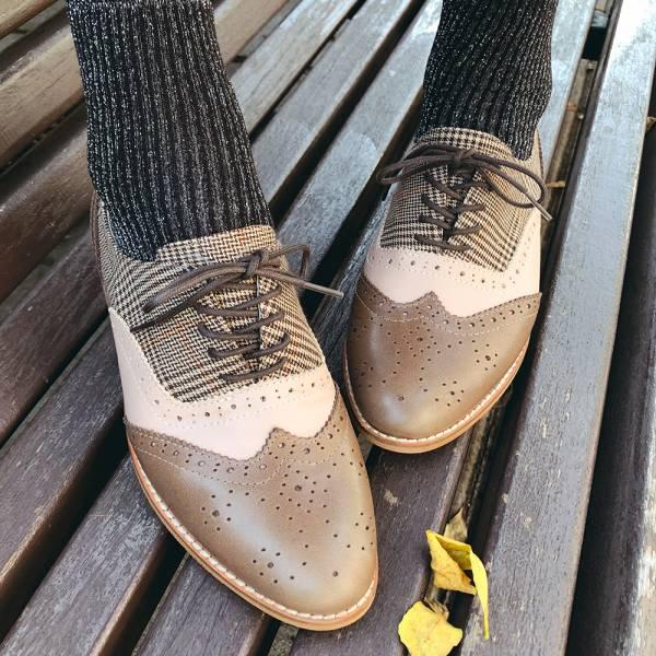 【訂製】外尖內圓/英倫風綁帶真皮牛津鞋-淺棕