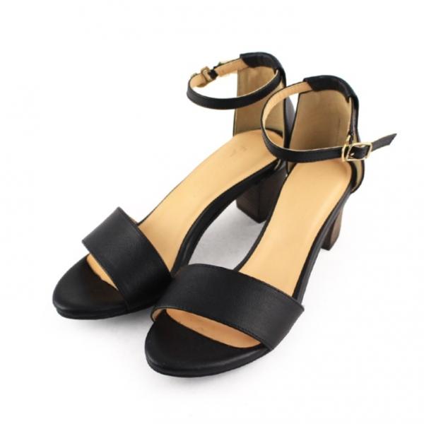 【訂製】春夏必備簡約一字設計中跟涼鞋 - 黑