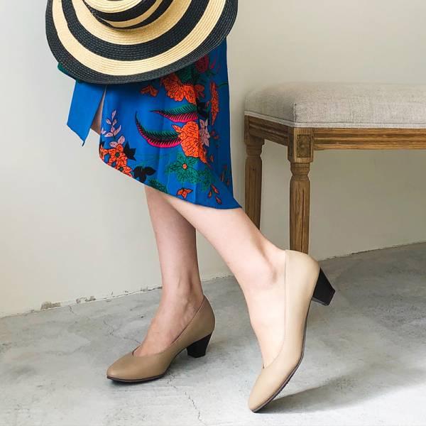【訂製】安定感十足真皮尖頭中跟鞋 - 淺米