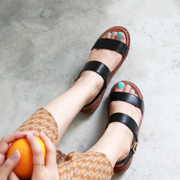 【訂製】Simple+久走不累簡約輕便雙帶涼鞋-黑
