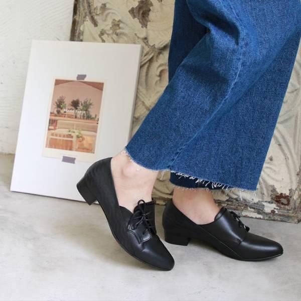 【訂製】斜綁帶小V口踝靴-黑