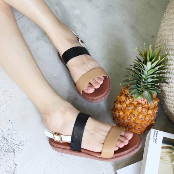 【訂製】Simple+久走不累簡約輕便雙帶涼鞋-深米